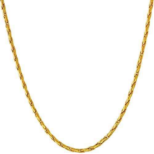 Lifetime Jewelry 2mm Twister Weave Chain Necklace for Women & Men 24k Gold Plated (18.0)