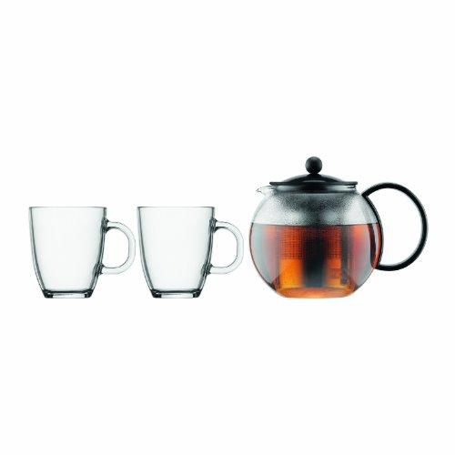 Bodum K1805-01 Assam Set, Teebereiter mit Edelstahlfilter 1 L und 2 Stück Tasse, Glas, 0,35 L, schwarz