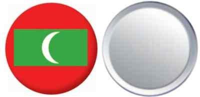MadAboutFlags Spiegel Knopfabzeichen Flagge Fahne Malediven - 58mm