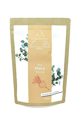 ingenious nature® Laborgeprüftes Bio Maca Pulver 1000g - von der roten Maca Wurzel - 100{801f74697bcb82e57c76093c77553101c4b6f91a42c84ccef7a4af8172fd3d5a} rein, ohne Zusätze, roh, aus Peru. Angebaut auf über 4400m. Vorrat für 200 Tage.