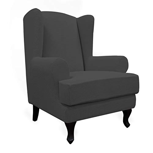 Easy-Going Stretch Wingback Chair Sofa Slipcover 2-Piece Sofa Cover Furniture Protector Couch Soft with Elastic Bottom, Spandex Jacquard Fabric Small Checks, Dark Gray