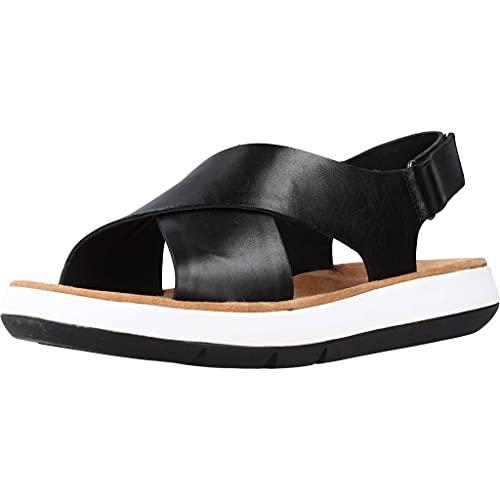 Clarks Damen Jemsa Cross Sandale, Black Leather, 39.5 EU