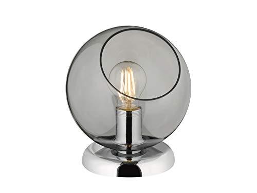 Reality Leuchten Beleuchtung Moderne LED Tischleuchte rund mit Glasschirm in Rauchfarben Ø20cm, Höhe 22cm