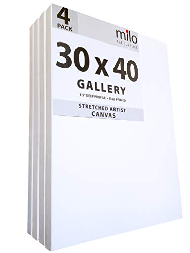 milo Pro Stretched Artist Canvas   30x40 inches   Pack of 4   1.5 inch Gallery Profile
