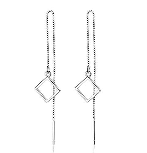 Boowhol Pendientes largos para mujer y niña, geometría sencilla, pendientes colgantes de plata de ley 925