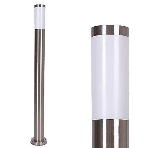Lampade da Percorso Acciaio Inox Lampione Moderno Illuminazione Esterna Incluso LED E27 4W Lampadina 3000 Kelvin Bianco Caldo Lampada per Esterni Tondo