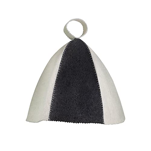 Saunahut - Farbe weiß/grau - fällt groß aus - 100% Baumwolle - Saunamütze aus Filz für Damen und Herren