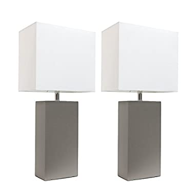 Elegant Designs LC2000-GRY-2PK 2 Pack Leather Lamps 2 Pack Modern Leather Table Lamps with White Fabric Shades, Gray