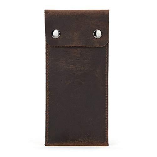 Bolsa de viaje para reloj de cuero, bolsa de bolsa para reloj hecha a mano, bolsa de almacenamiento de viaje con tapa abatible para relojes de cuero (Café)