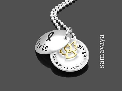 Kette zur Taufe CHRISTENFISCH TAUFENGEL 925 Sterling Silber Namenskette, Taufschmuck mit Gravur