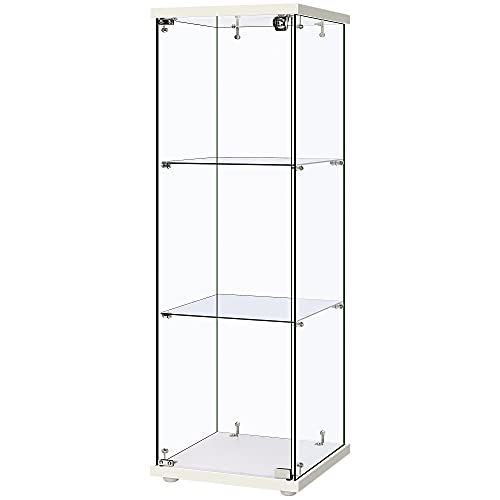 VIVOHOME 3 Layers 15.7  W x 15.7  D x 47.2  H Glass Countertop Display Showcase Cabinet Bookcase with Lock, 5mm Tempered Glass 25mm MDF Base