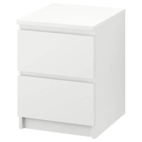 BestOnlineDeals01 MALM Kommode 2 Schubladen schwarzbraun 40x55cm robust und pflegeleicht Beistelltische Kaffee- & Beistelltische Tische und Schreibtische. Möbel Umweltfreundlich. 40x55 cm weiß