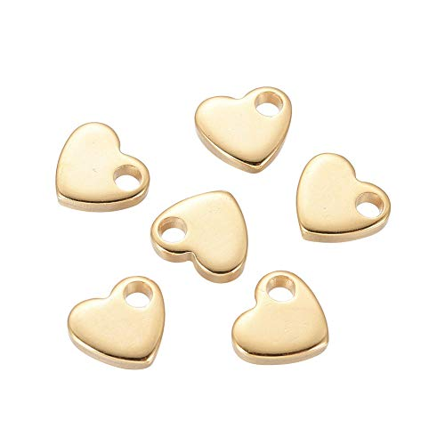 UNICRAFTALE 20 Uds 304 dijes de Acero Inoxidable Colgantes de Corazón Dorado Dijes de Orificio Pequeño para Collares Pulseras Fabricación de Joyas 6x7x1.5mm Agujero 1.6 mm