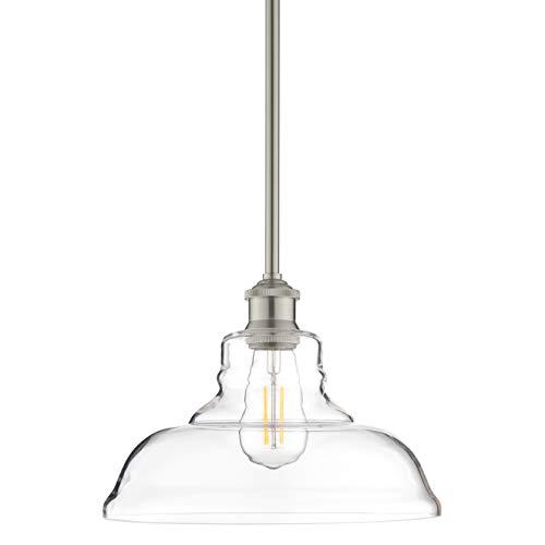 Lucera Glass Kitchen Pendant Light | Brushed Nickel Farmhouse Hanging Light Fixture LL-P431-BN