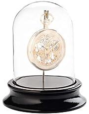 Caja de cristal con gancho, para guardar relojes de bolsillo, sin polvo, base de madera con acabado de piano negro (diámetro interior de 68 mm), no incluye reloj de bolsillo.