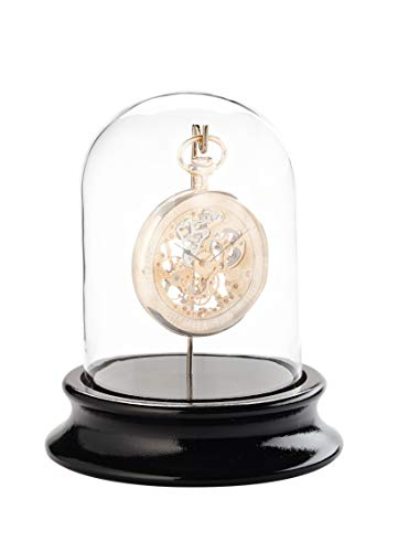 Echtglasdom mit Haken – Zur staubfreien Aufbewahrung von Taschenuhren – Holzsockel mit schwarzem Pianolack-Finish (Innen-Ø 68 mm) – Ohne Taschenuhr – C324766 (Echtglas)