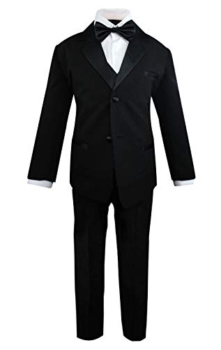 Lito Angels Baby Boys' Jacquard Classic Tuxedo Suit Formal Suits Wedding Outfit 5 Piece Set Size 18-24 Months Black