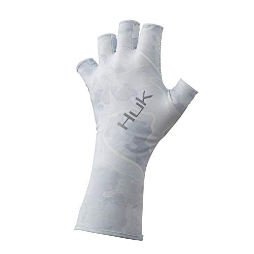 Huk Men's Current Camo Sun Gloves | Quick-Drying Fingerless Fishing Gloves With UPF 30+ Sun Protection, Kenai, L/XL