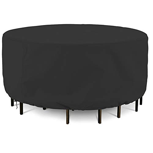 Onlyme Patio Table and Chairs Cover Round, Outdoor Durable and Waterproof Furniture Set Covers, 90 inch