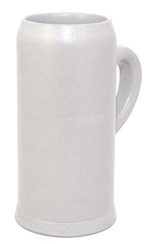 Bavariashop Bierkrug, Salzglasiert, Schlanke Form, 0,5 l Füllmenge, Weiß, Hochwertiges Bierseidel