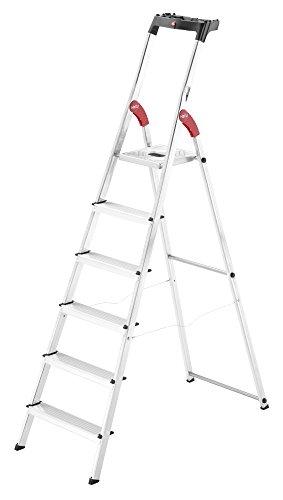 Hailo L60 StandardLine, Alu-Sicherheits-Stehleiter, 6 Stufen, Ablageschale, belastbar bis 150 kg, silber, Made in Germany, 8160-607