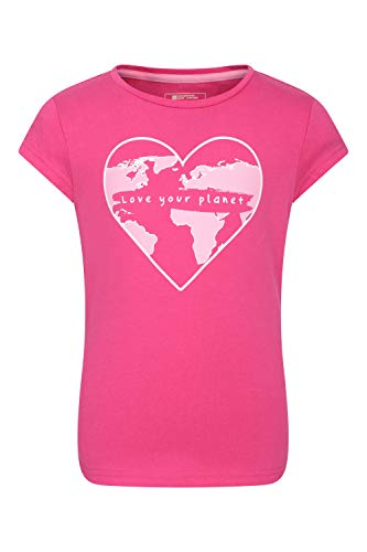 Mountain Warehouse Explore Organic Cotton Kids Tee - 100% Organic Cotton Childrens T-Shirt, Lightweight Tee Shirt, Sustainable - Best for Summer, Hiking, Outdoors Rose 7-8 Ans