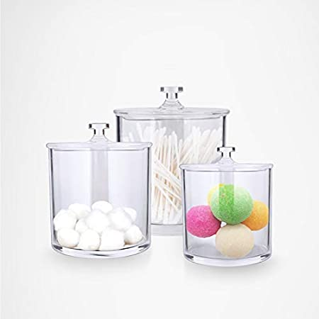 Amazon Com Much Premium Acrylic Apothecary Jars Clear Plastic Bathroom Canisters With Lid Storage Organizer For Cotton Ball Swab Q Tips Rounds Bath Bomb Salts Set Of 3 Home Kitchen
