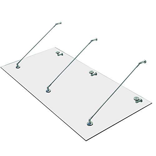 HOMCOM Vordach Glasvordach Türvordach Verbundsicherheitsglas VSG 304 Edelstahl Klarglas 3 Größen (200x90cm) (L)