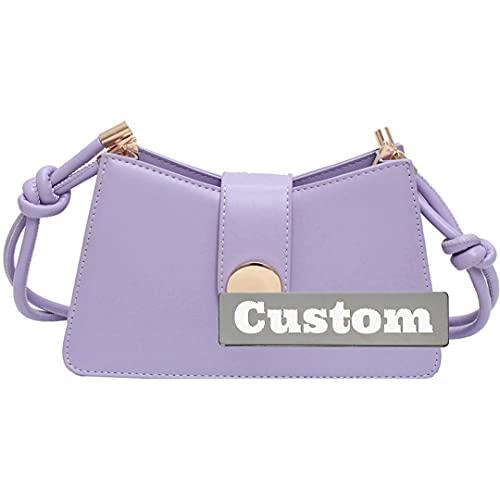 RXDZ Mochila personalizada con nombre personalizado para niñas, bolso bandolera de piel y bolsos (color morado, tamaño: talla única)
