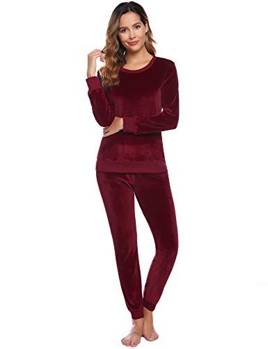 Abollria Damen Velours Hausanzug Weich Warm Samt Pyjamas Zweiteiler Freizeitanzug mit Taschen Nicki Oberteil+Hose für Winter, Weinrot, XS