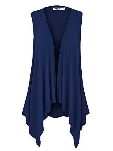 WSK1071 Womens Lightweight Sleeveless Draped Open Cardigan XL Navy