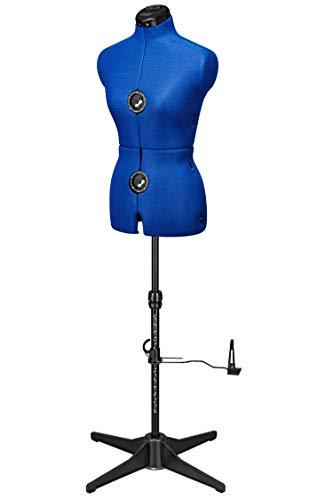 DEUBL SCHNEIDERPUPPEN Damen verstellbar Majestique Blue MULTI (Gr.S/36-42) 8-teilig komplett einstellbar, Rückenlängenverstellung, 4-Bein Fuß, Rockabrunder, Schneiderbüste mit Beinansatz