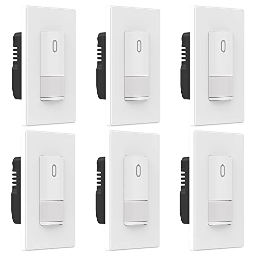ELEGRP Occupancy Motion Sensor Light Switch, PIR Infrared Motion Activated Wall Switch, No Neutral Wire, Single Pole for CFL/LED/Incandescent Bulb, Wall Plate Included, UL Listed (6 Pack, Matte White)