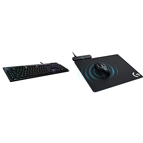 Logitech G815 RGB Mechanical Gaming Keyboard & Powerplay Wireless Charging System for G502 Lightspeed, G703, G903 Lightspeed and PRO Wireless Gaming Mice, Cloth or Hard Gaming Mouse Pad - Black