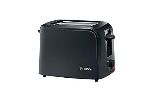Bosch TAT3A013 CompactClass Kompakt-Toaster, Auftaufunktion, versenkbarer Brötchenaufsatz,Abschaltautomatik, 980 W, schwarz
