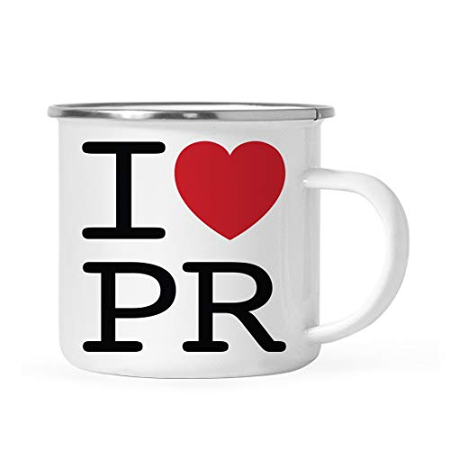 Andaz Press 11oz. Stainless Steel Campfire Coffee Mug Gag Gift, I Love Puerto Rico, Heart Graphic, 1-Pack, Includes Gift Box, Moving Away Long Distance Hostess High School Graduation Ideas
