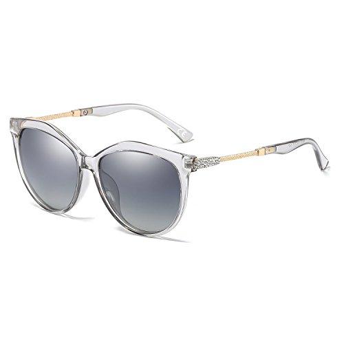 VeBrellen Polarisiert Sonnenbrille für Damen, 100% UV Augenschutz Brille Transparent Rahmen