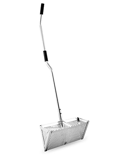 """Exact Design Sand Flea Rake, Anodized Aluminum One Piece Strong 52"""" Long Handle, 16-Inches Wide Basket, Sharp Teeth, Curved Handle Design [Revision Version]"""