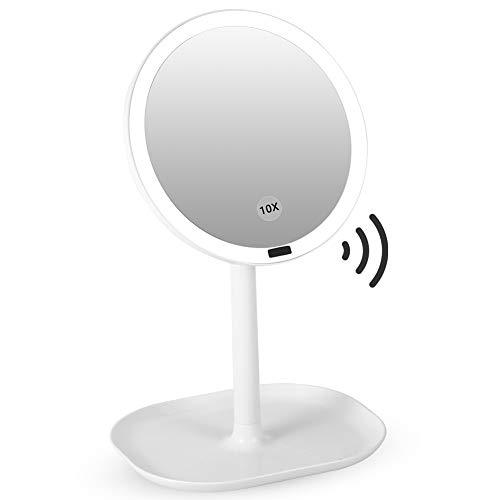 YOUTHINK Kosmetikspiegel 10 Facher Vergrößerung Wiederaufladbar mit LED Beleuchtung Infrarot Sensor Vergrößerungsspiegel Schminkspiegel Infrarot 360° Schwenkbar für Zuhause & Reisen