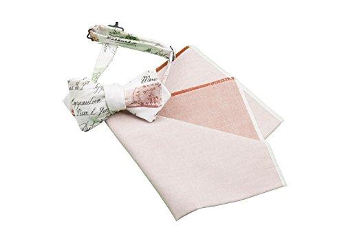 Old Fashion Sartoria Ensemble de nœud papillon ajustable à nouer soi-même et de pochette carrée en coton Homme Rouge/blanc/Rose/vert/Multicolore Taill