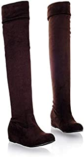 centro comercial de moda MENGLTX Sandalias Sandalias Sandalias Tacones Altos Fashion Plus Tamao Grande 34-47 Otoo Invierno Zapatos Mujer Leopardo Punta rojoonda Tacones Planos sobre La Rodilla botas De Mujer 865 7.5 Marrón  tienda de venta