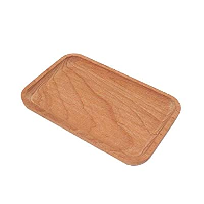 Home Serving Tray for Breakfast & Dessert, Rectangular or Square Beech Wood Plates Coffee Tea Decorative Tray w/Raised Edge, Kitchen Serveware Accessories Storage Platter