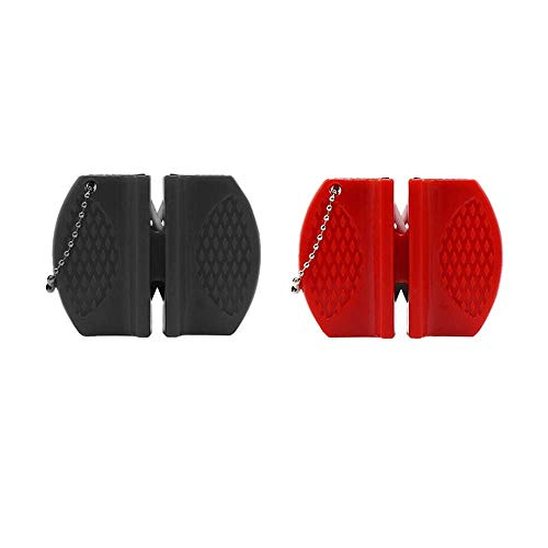 2 Pieces Special Sharpener for Outdoor Camping Professional Knife Sharpener Lightweight Pocket Sharpener 2-Step Knife Sharpener Kitchen Tool(Black,Red)