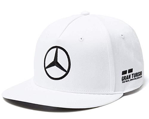 Mercedes AMG F1 Driver Puma Hamilton Flat Peak Berretto Bianca Ufficiale 2018