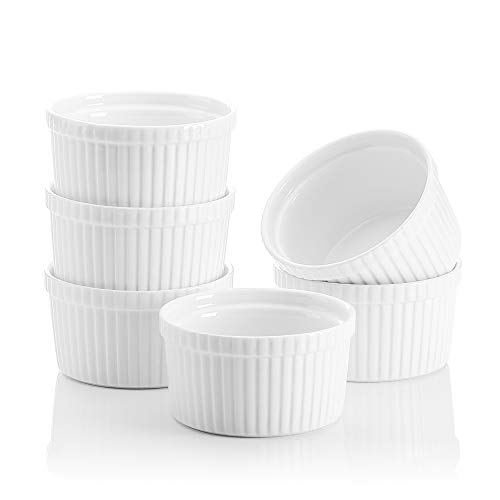 MALACASA, Series Ramekin, 6-Piece 3.5' (9cm) Ramekins Ivory White Porcelain China Ceramic Cream White Dishes(Set of 6)