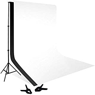 COOPIC S02 2m x 2m Photography Video Studio Background Stand with 1.5x3m White Black Background Backdrop 2 Clamp Kit Set
