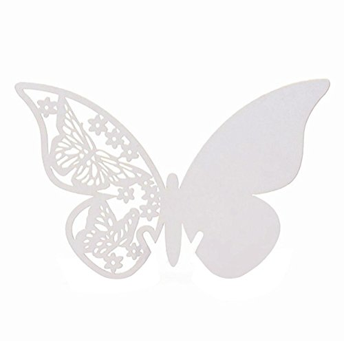 AKOAK Pearlized Paper Butterfly Table Number Place Card Name Card Wine Glass Cup Decoration Wall Decals Sticker for Wedding Party Favor Decor,50 Counts (White)