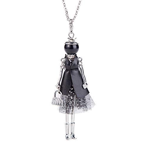 Nowbetter - Collana lunga da donna, con ciondolo a forma di bambola con perla, Style E, 80 cm