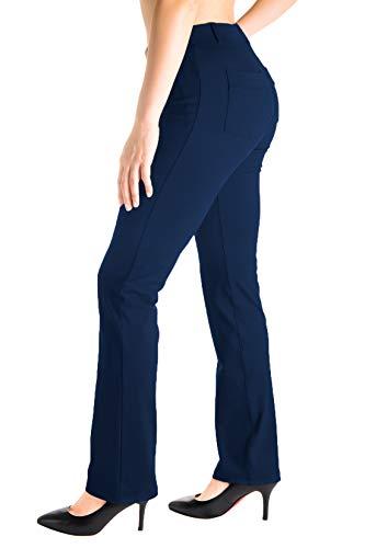 "Yogipace, Belt Loops, Women's Petite/Regular/Tall Dress Pant Straight Leg Yoga Work Pants Slacks Back Pockets Office Commute Travel, 31"", Navy Blue, Size S"