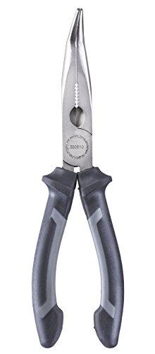 kwb Flachrund-Zange / Flach-Zange 200 mm 382610, nach DIN ISO 5745, gebogene Form, Schneidkanten gehärtet, CV-Stahl